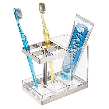 mDesign Soporte para cepillos de dientes independiente - Portacepillos con espacio para 4 cepillos dentales y dentífrico - Organizador de productos de ...