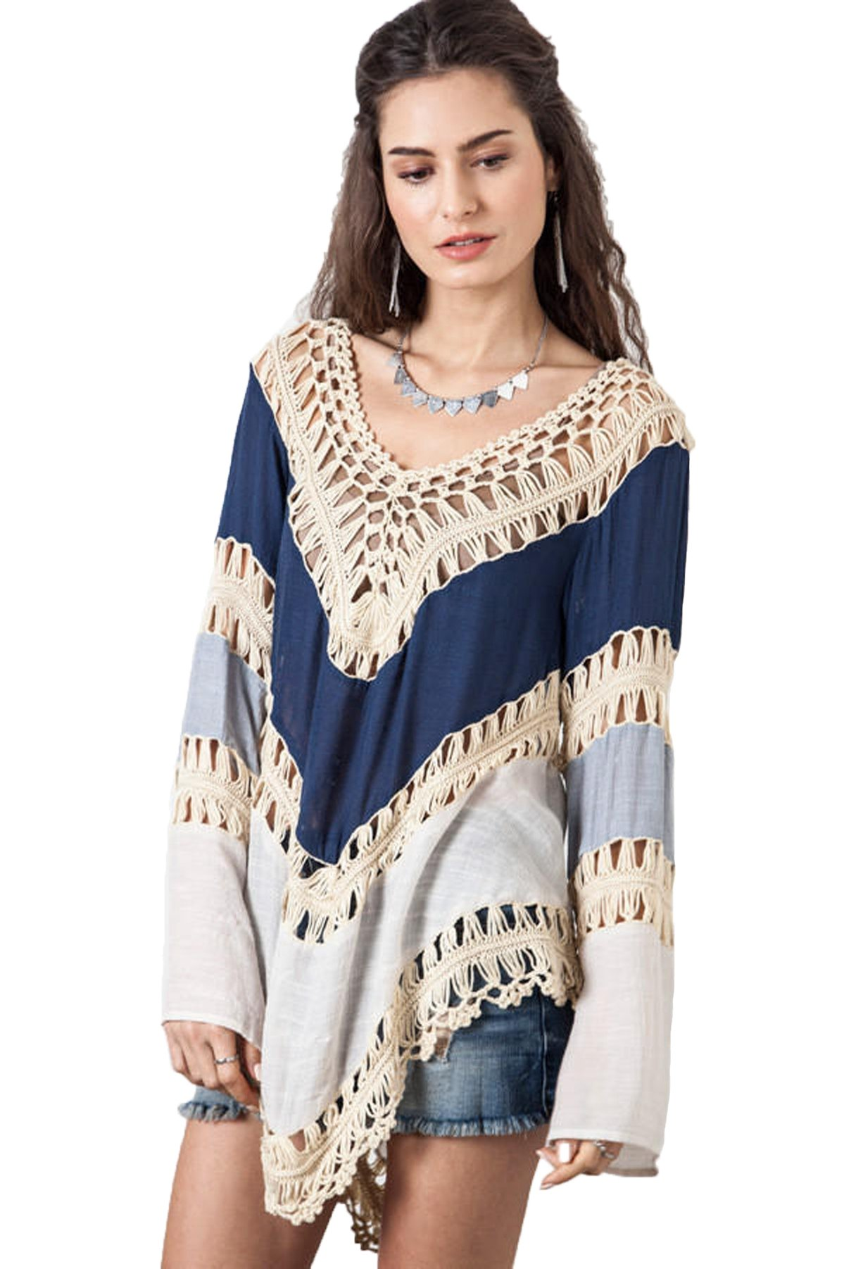 Nicetage Women's Crochet Lace Fringe Boho Bohemian Blouse Top Frayed Blouse Blue