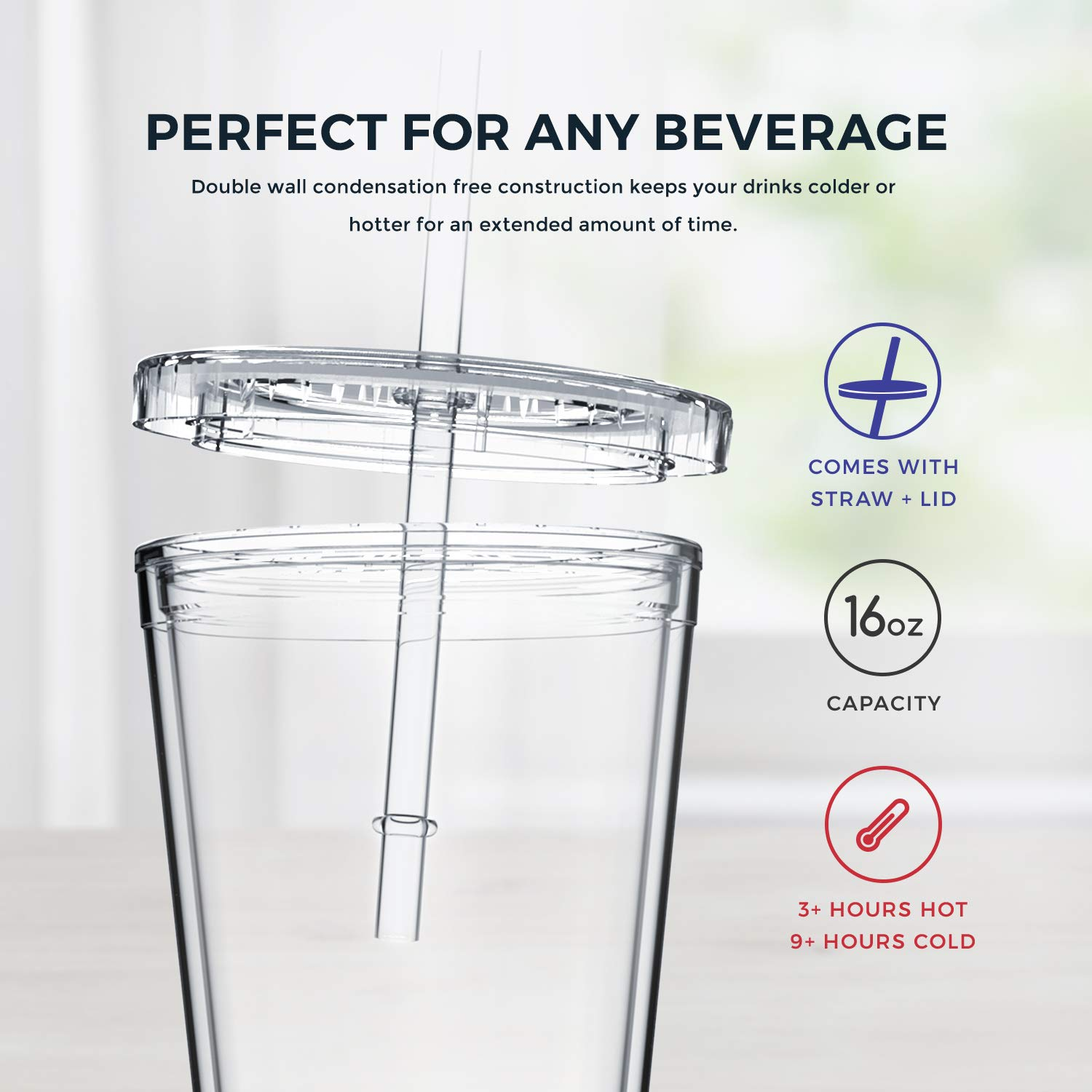 Double Wall Acrylic Maars Classic Insulated Tumblers 16 oz 4 pack