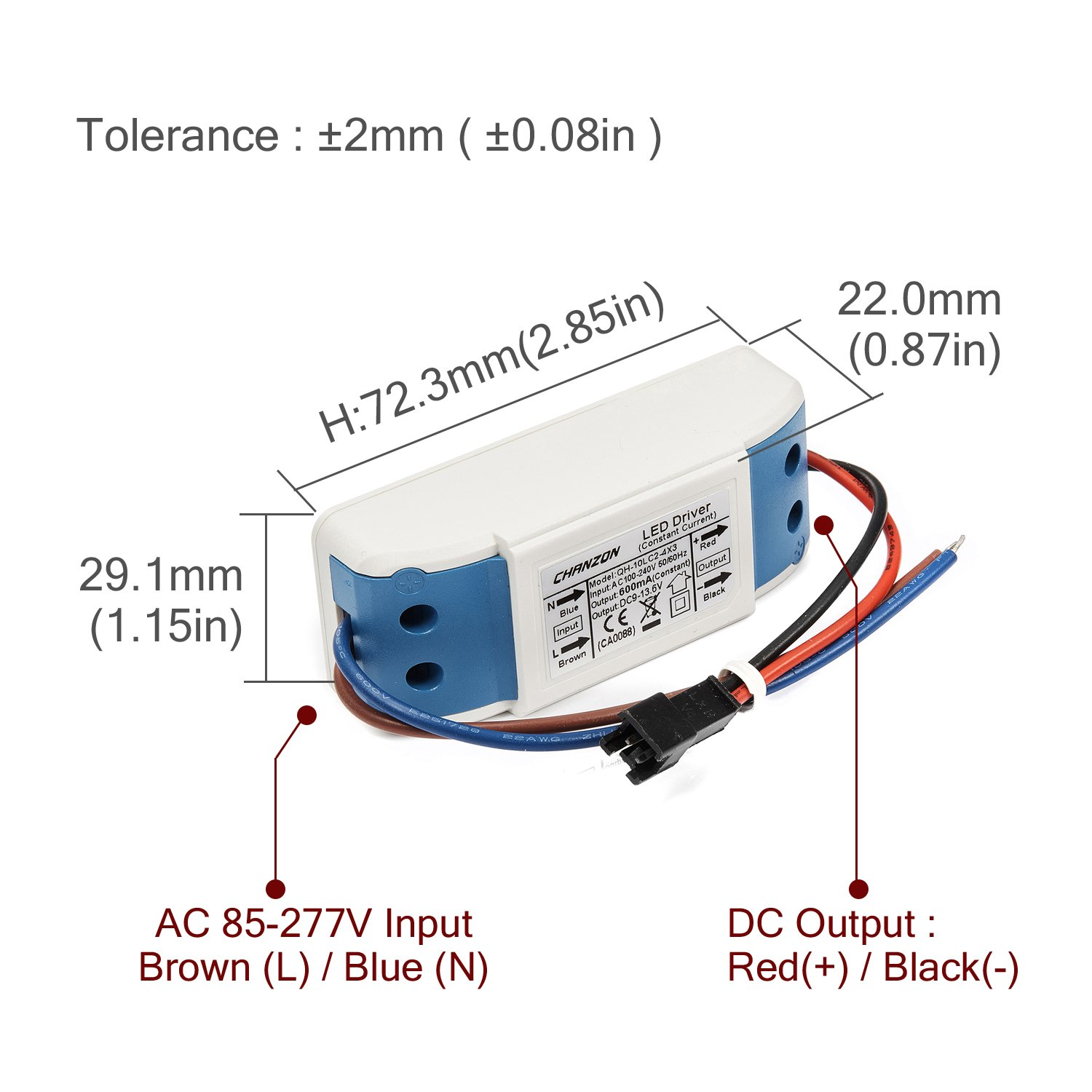 Chanzon Led Driver 600ma Constant Current Output 18v 34v In 85 12 Volt Dc Dimmer Wiring Diagram Free Picture 277v Ac 6 10 X3w 18w 20w 21w 24w 27w 30w Power Supply 600 Ma Lighting Transformer