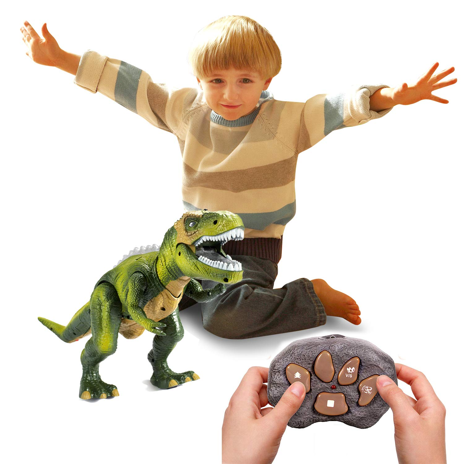 Tuko Light Up Remote Control Dinosaur Toys Jurassic World Walking and Roaring Realistic T-Rex Dinosaur Toys with Glowing Eyes, Walking Movement, Shaking Head for Toddlers Boys Girls by Tuko (Image #7)