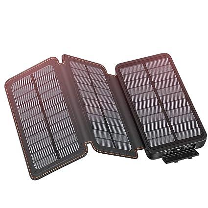 Amazon.com: YONSIEO Cargador Solar con 3 Paneles Power Bank ...
