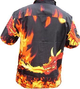 Boston - Camisa - para niño Negro Fire Dragon and Flames All Over 12-13 Años: Amazon.es: Ropa y accesorios
