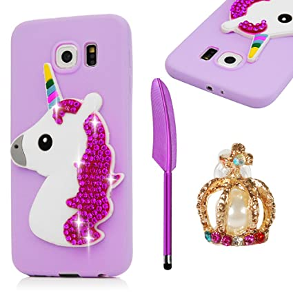 Amazon.com: Galaxy S6 Funda ultrafina, mollycoocle Unicorn ...