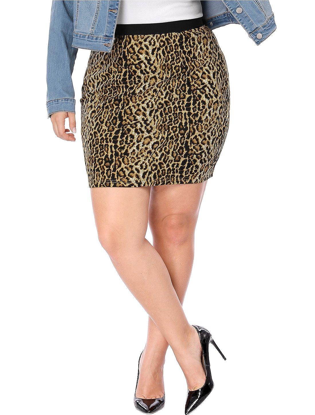 Agnes Orinda Women's Plus Size Leopard Prints Elastic Waist Pencil Skirt 1X Brown a17091500ux0353eu