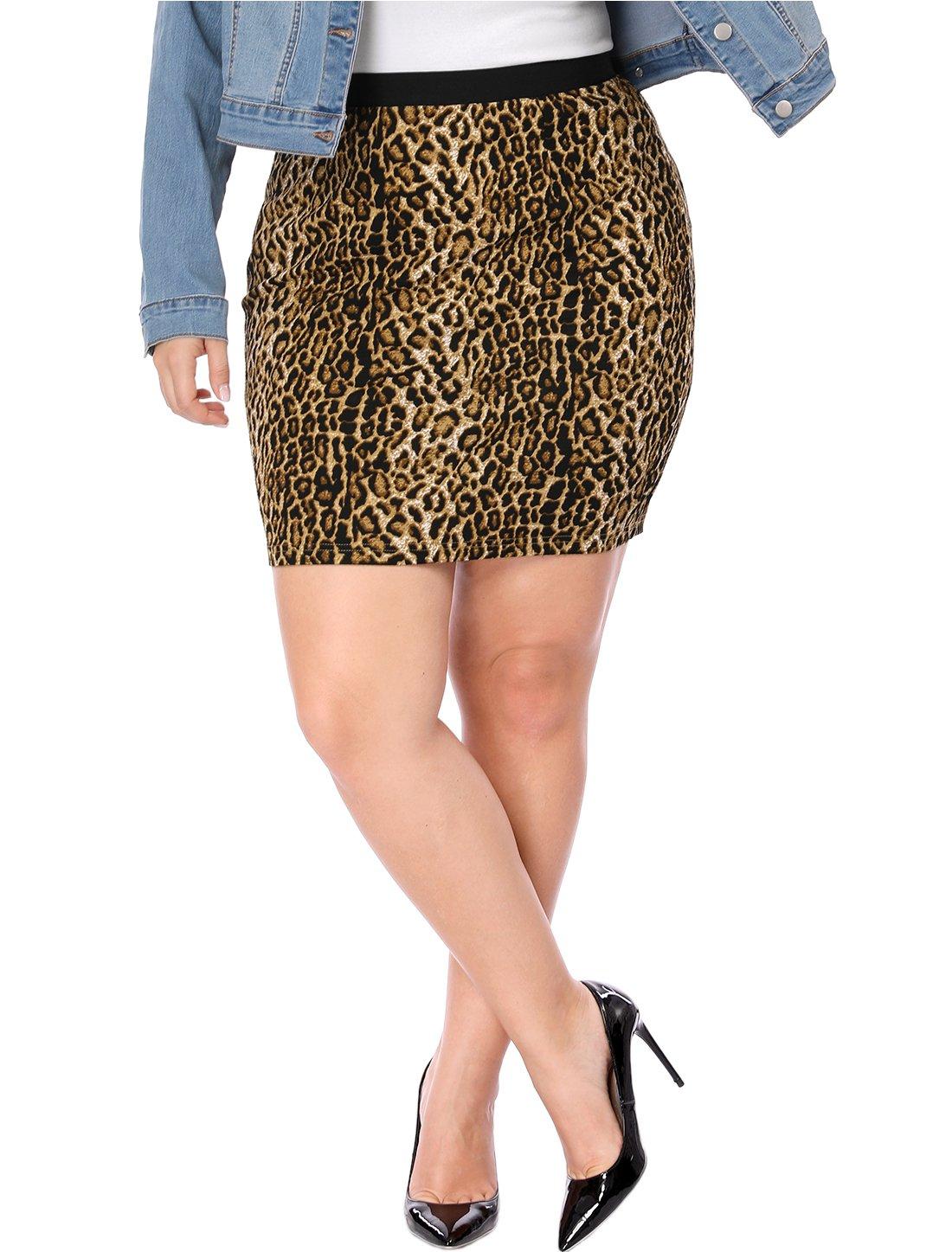 Agnes Orinda Women's Plus Size Leopard Prints Elastic Waist Pencil Skirt 3X Brown