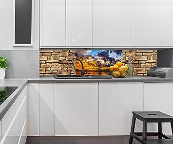 Beliebt Küchenrückwand 3D Optik - Sonnenuntergang- Steinmauer QZ34