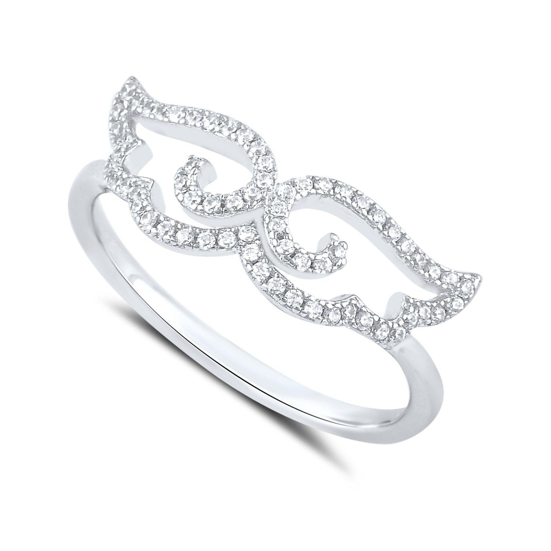 Sterling Silver Cz Moustache Ring Size 5-9