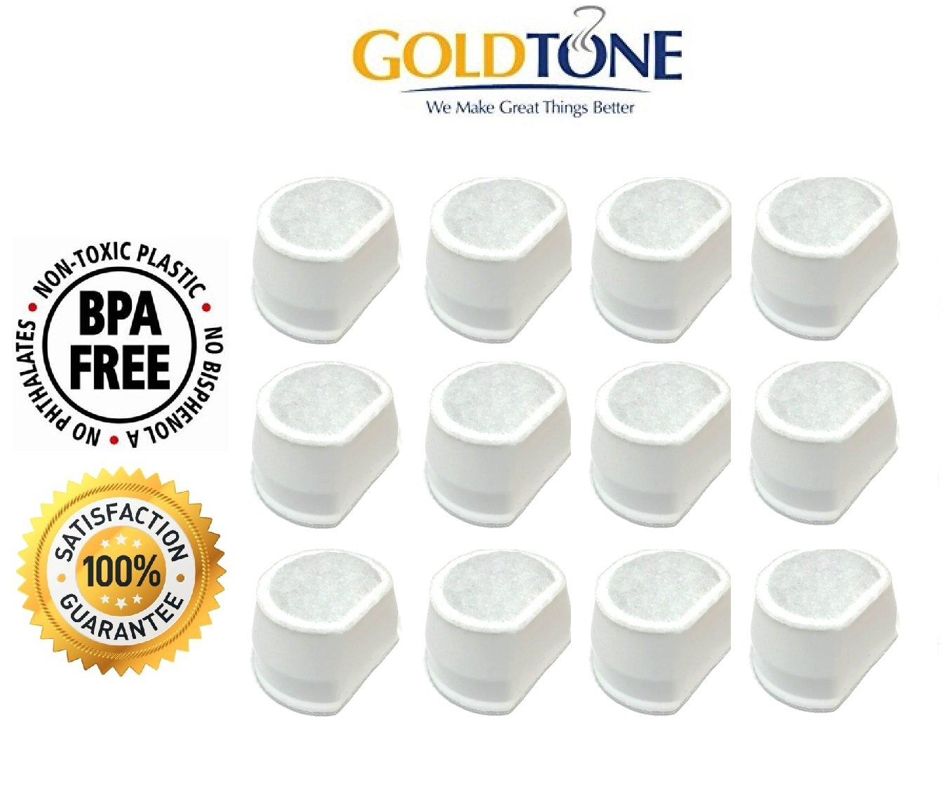 GoldTone Branded,12-pack, Replacement Pet Fountain Water Filters for Drinkwell Avalon, Drinkwell Pagoda & Drinkwell Sedona Pet Fountains, 12 Filters