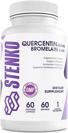 STENKO Quercetin with bromelain Dietary Supplement for Joint and Respiratory health-60 Servings 2 Months Supply