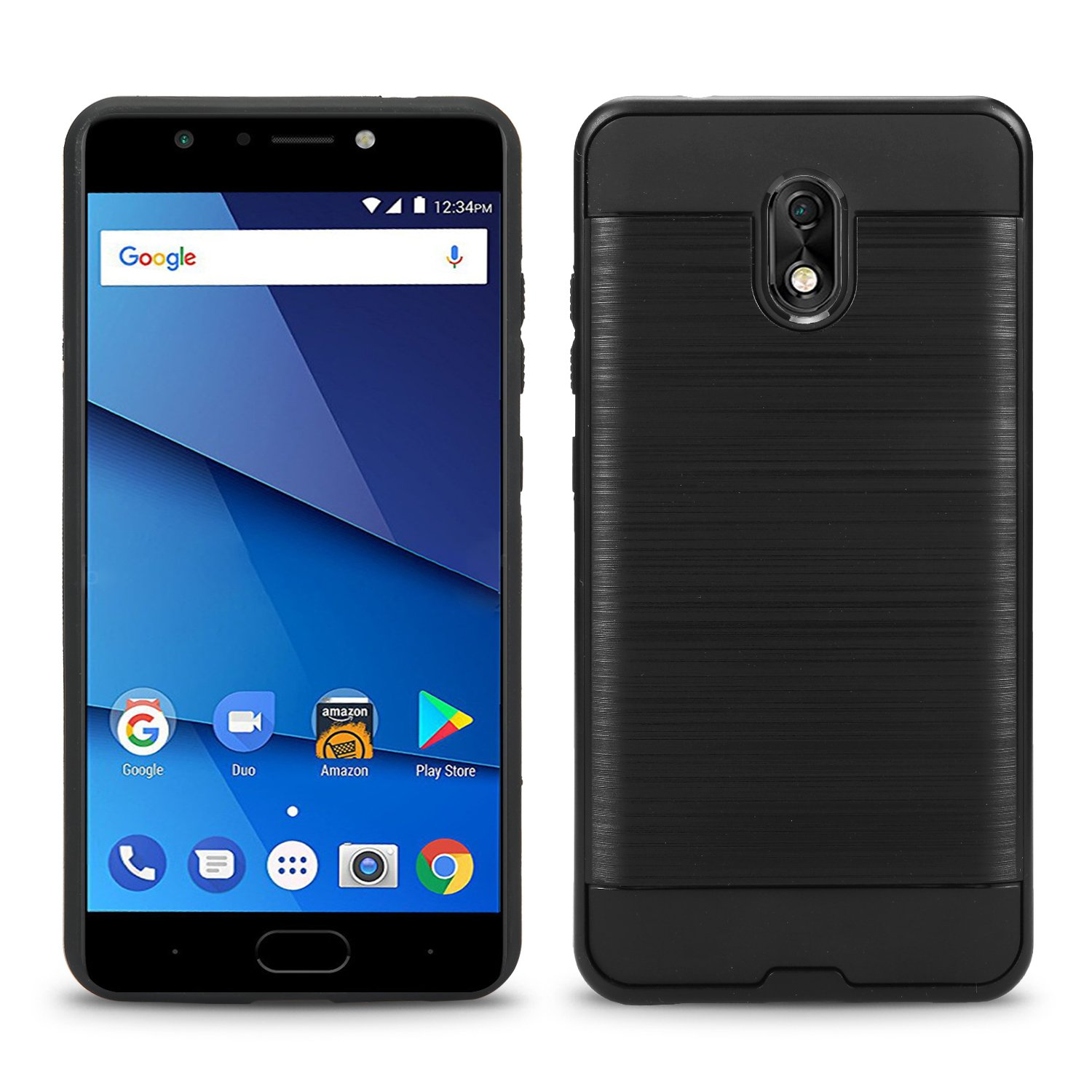 BLU Life One X3 case + Screen Protector, (L0150WW) 5.5 inch case Tough Hybrid + Dual Layer Shockproof Drop Protection Metallic Brushed Case Cover for BLU Life One X3 case (VGC Black + SP) by NewFrontier (Image #1)