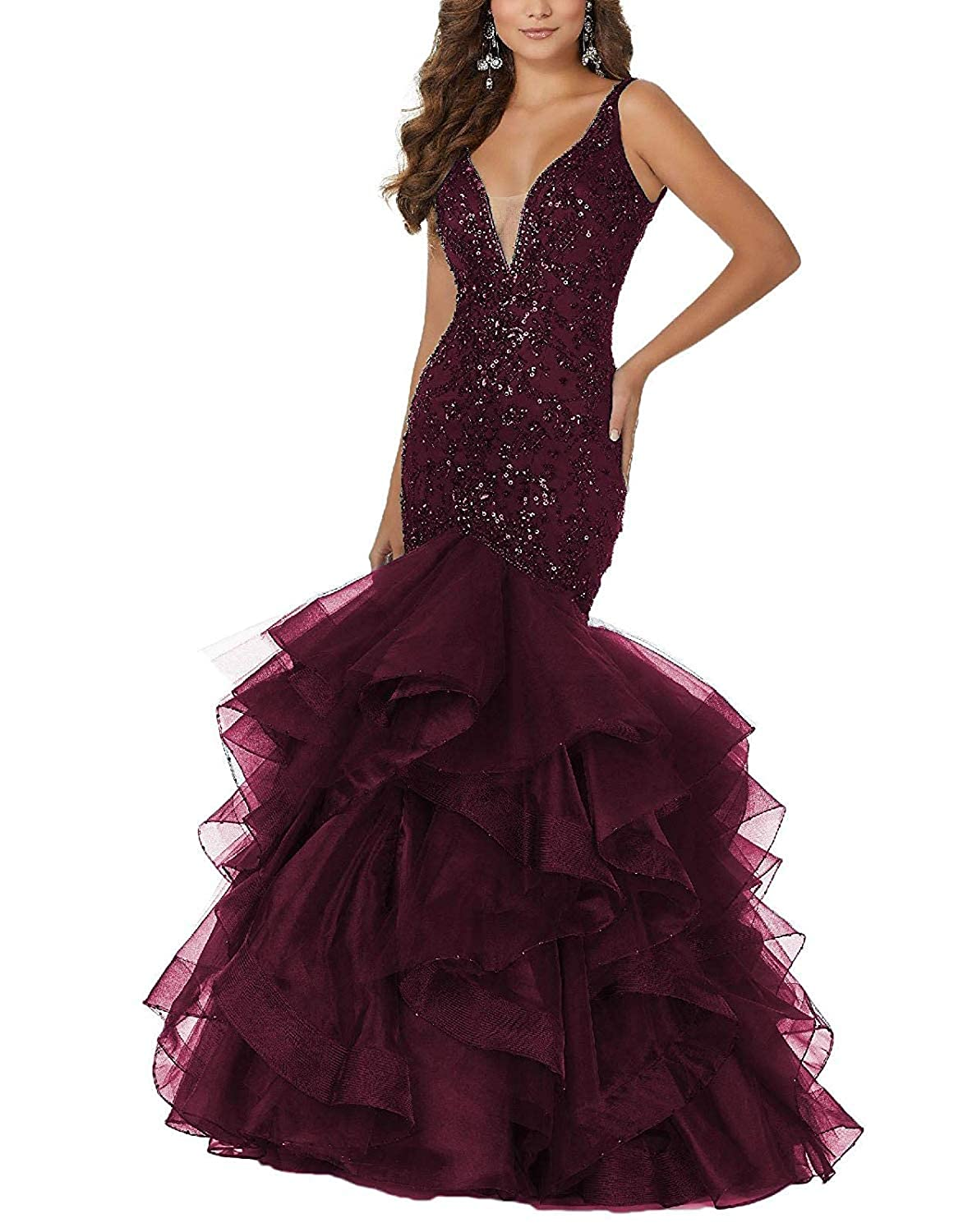 Burgundy PearlBridal Women's Beaded Sequins Mermaid Lace Long Prom Dresses Ruffles Evening Ball Gowns