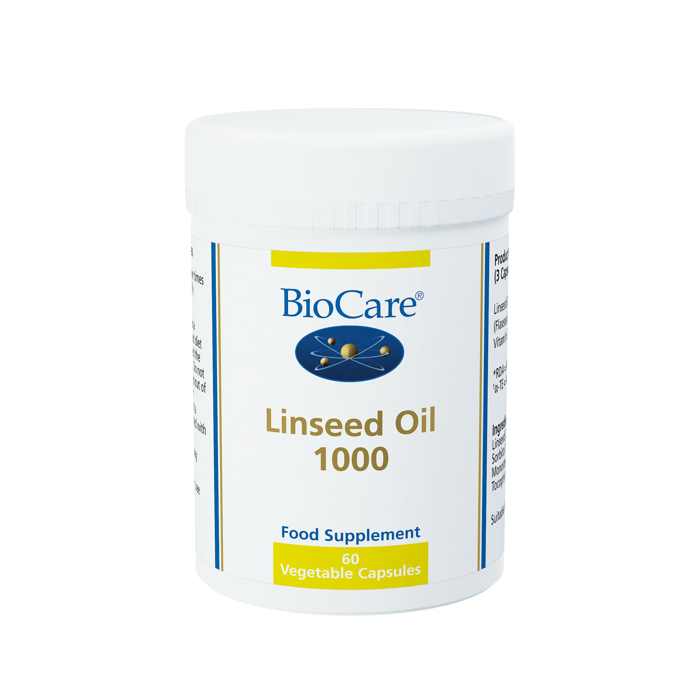 Biocare Linseed Oil 1000mg (flaxseed oil), 60 gel capsules