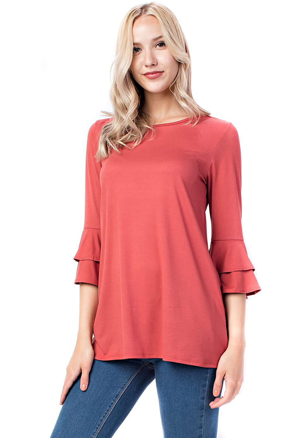 Coral Allora Betsy Red Couture Women's Ruffled 3 4 Sleeve Tunic (S3X)