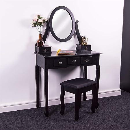 Ikea Hemnes Cassettiera Con Specchio.Home Discount Nishano 5 Tavolo Da Toeletta Con Specchio Regolabile