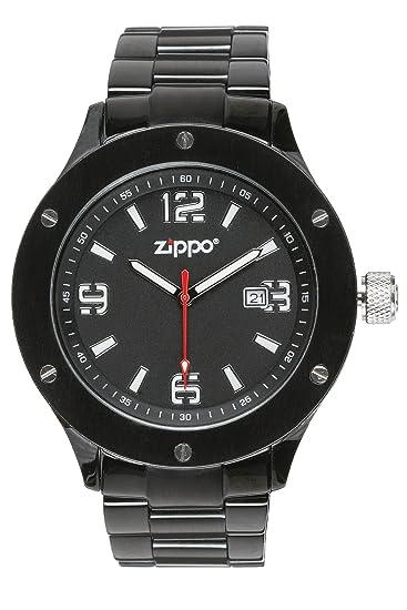 Zippo 45007 - Reloj analógico de cuarzo para hombre con correa de acero inoxidable, color