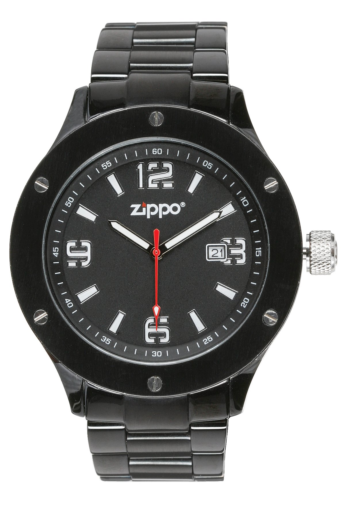Zippo Work Watch with Black Dial and Solid Stainless Steel Band