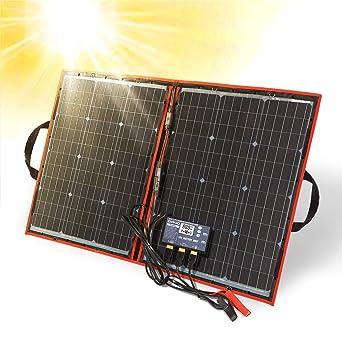 Dokio - Kit de panel solar plegable, ligero, monocristalino con control solar, 2 salidas USB, 100 W, 12V, para caravana o barco (portátil)