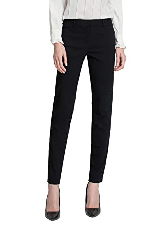 1e6d26c1f7b3e6 SATINATO Women's Straight Pants Stretch Slim Skinny Solid Trousers Casual  Business Office Black