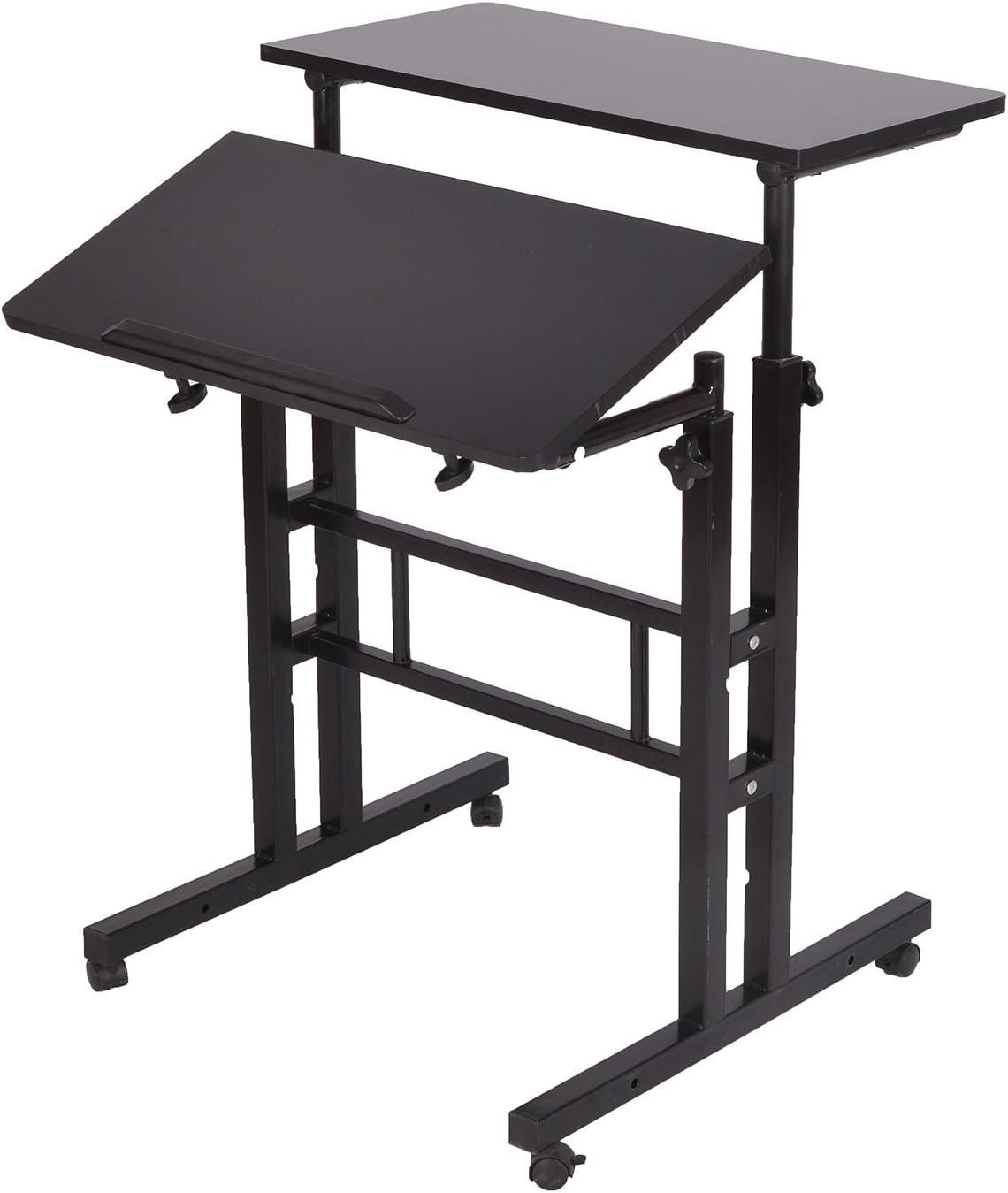 Mind Reader Multipurpose Home Office Computer Desk, Sit and Stand Desk, Workstation Desk, Black