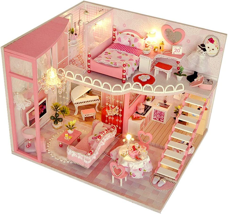 Kisoy DIY Dollhouse Kit, Exquisite Miniature with Furniture, Dust Proof Cover and Music Movement, for Your Perfect Craft (Dream of Honey)
