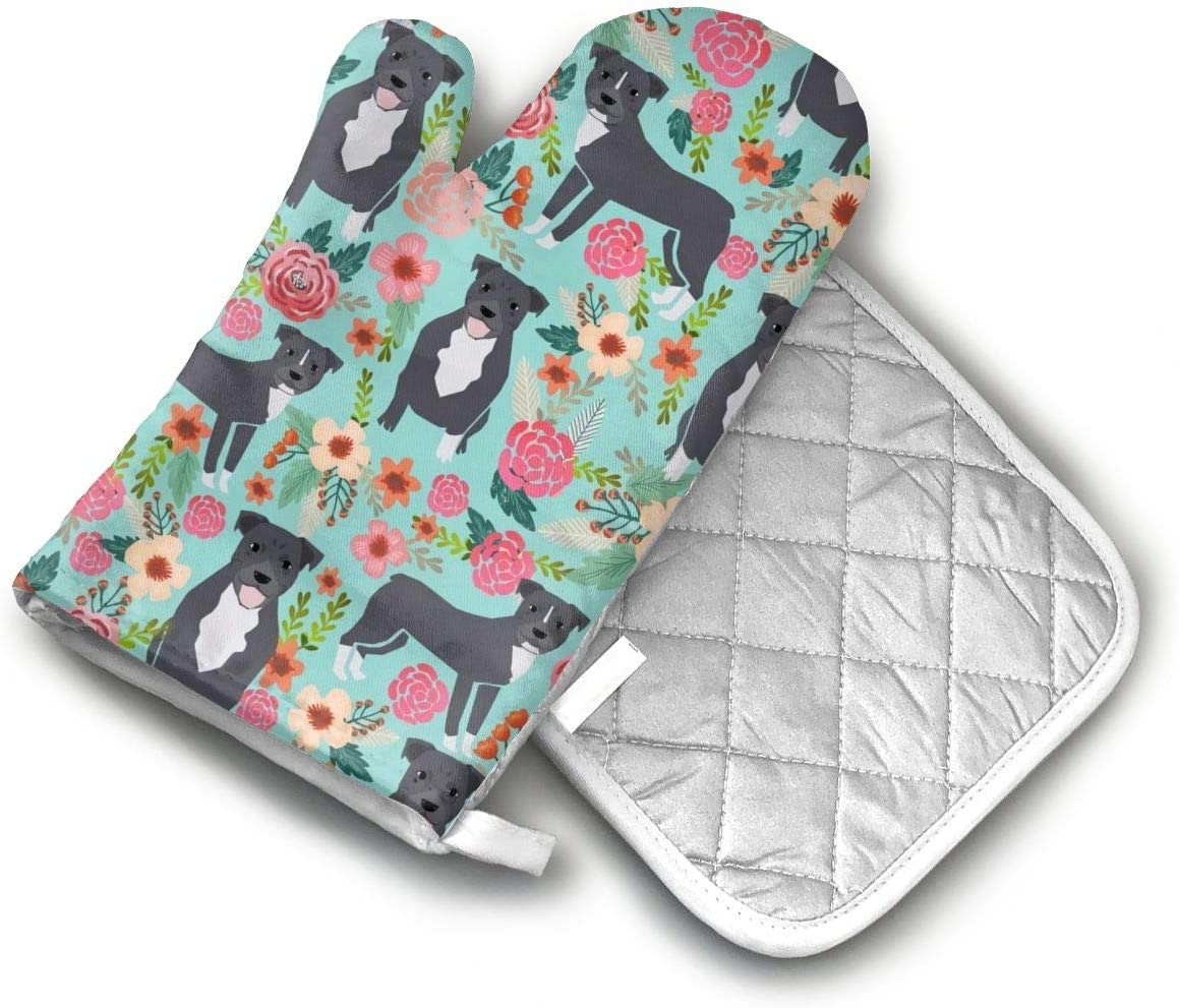 Pitbull Terriers Florals Oven Mitts and Potholders (2-Piece Sets) - Extra Long Professional Heat Resistant Pot Holder & Baking Gloves - Food Safe