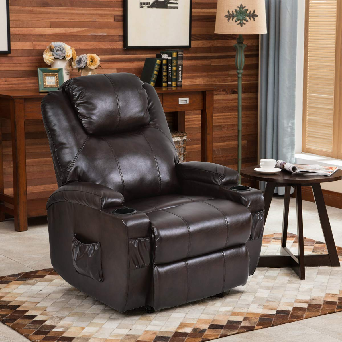 Giantex Electric Power Lift Recliner Chair for Elderly, Padded Seat with Remote Control for Gentle Motor Cup Holder Living Room Chair,Brown