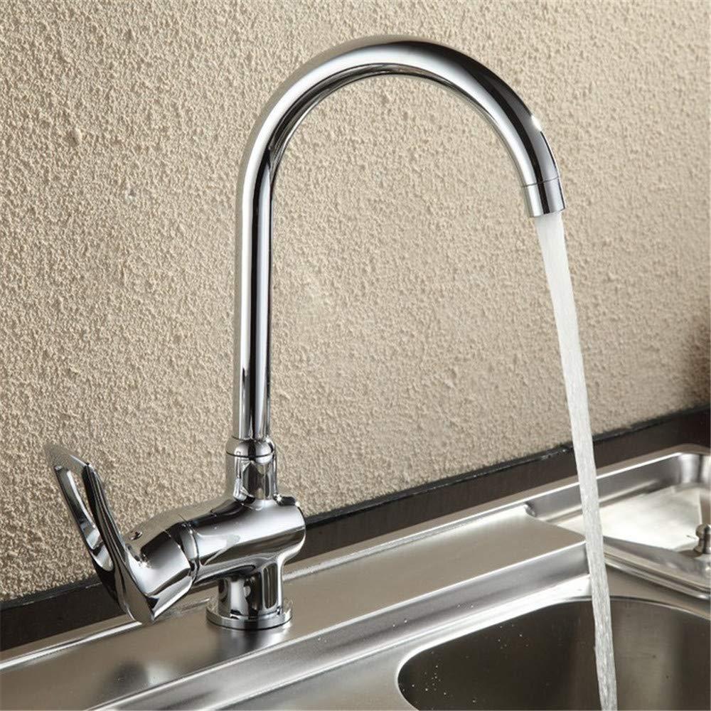 Waschbecken Chrom Messing Messing Körper Chrom Poliert Klassische Küchenarmatur 360 Grad-umdrehung Mischer Wasserhahn