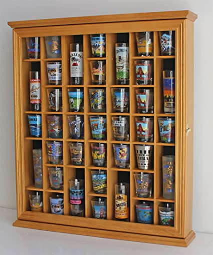 41 Shot Glass Display Case Cabinet Holder  With Glass Door, Wall Mountable