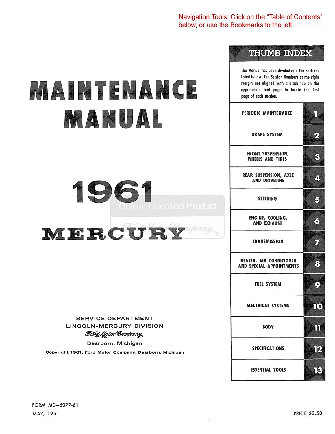 Bishko Automotive Literature 1961 1962 1963 Ford Mercury Wiring Diagram Meteor No Comet Service Manual Cd Oem