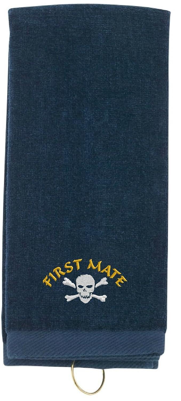 SpiffyカスタムギフトPirate First Mate WITH SKULL & CROSSBONES刺繍入り三つ折りスポーツタオルW /フック  ネイビー B01B3ORG7Q