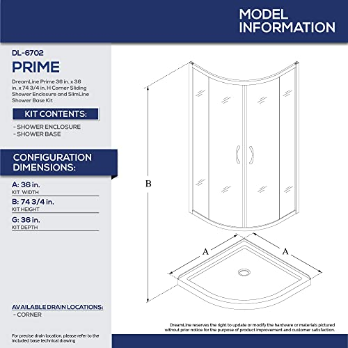 DreamLine Prime 36 in. x 74 3 4 in. Semi-Frameless Frosted Glass Sliding Shower Enclosure in Chrome with White Base Kit, DL-6702-01FR