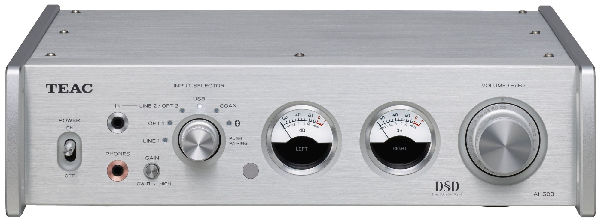 TEAC AI-503 Reference Bluetooth DSD DAC / Integrated Amp / Preamp / Headphone Amp (Silver) by Teac