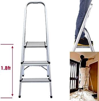 Escalera plegable de aluminio de 3 peldaños, altura de plataforma superior 1.8 pies, carga máxima 330 libras, para el hogar, cocina, garaje, hogar, uso diario: Amazon.es: Bricolaje y herramientas
