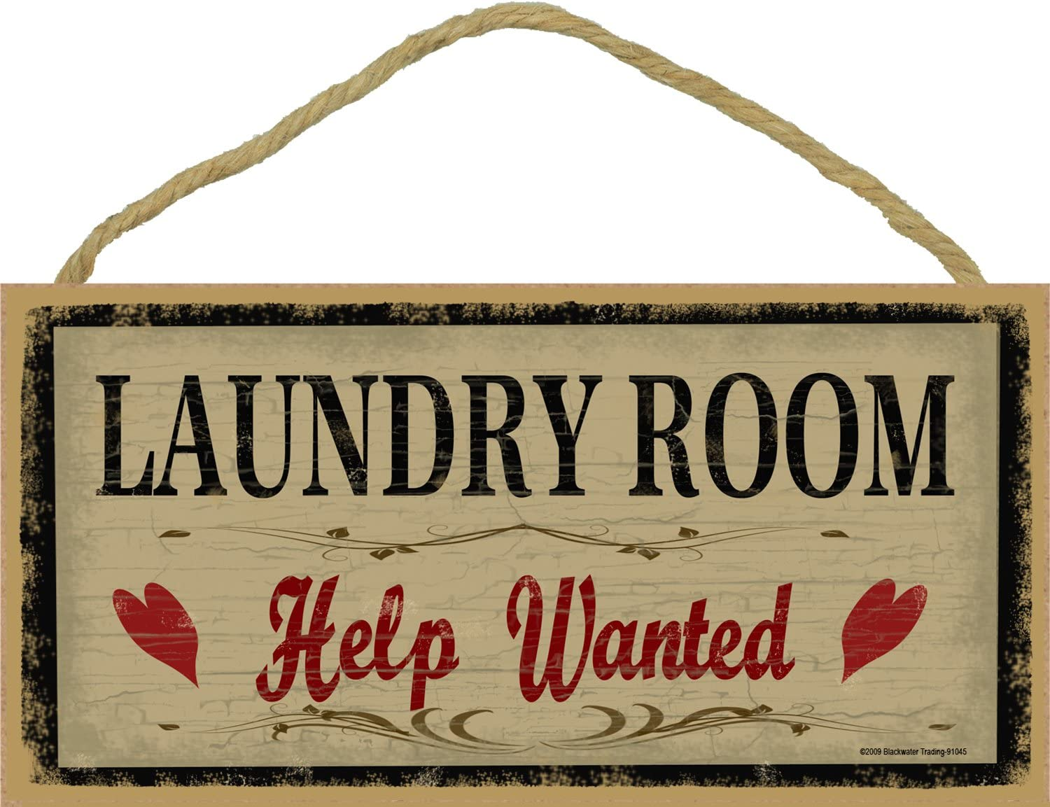 """Blackwater Trading Laundry Room Help Wanted Rustic Primitive Sign Plaque Decor 5""""x10"""""""