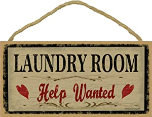"Blackwater Trading Laundry Room Help Wanted Rustic Primitive Sign Plaque Decor 5""x10"""
