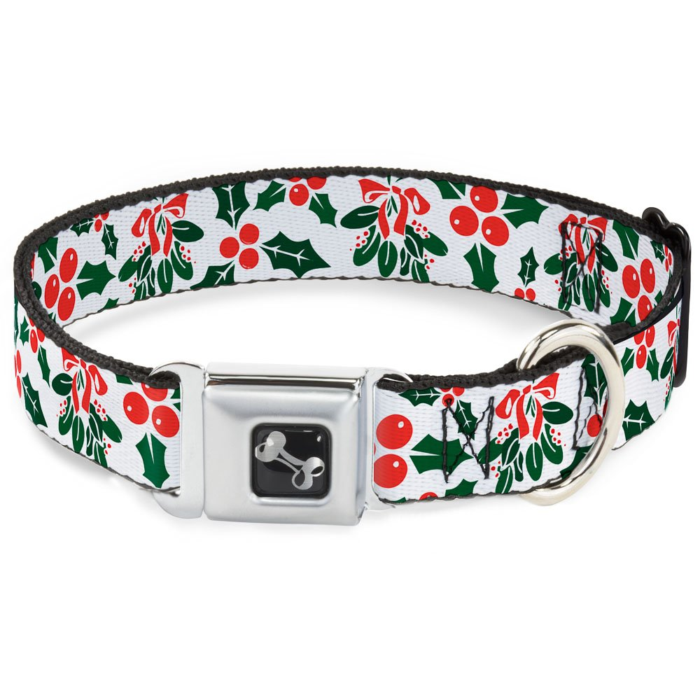 Buckle-Down Holly & Mistletoe Dog Collar Bone, Wide Medium 16-23