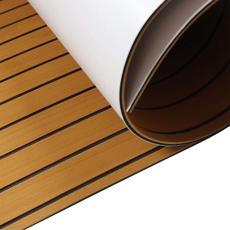 Hbuilder Planche de Pont de Bateau en Teck Imitation de Mousse EVA multifonctionnelle Tapis de Sol Marin pour Yacht Marin Pont de mer Auto-adh/ésif antid/érapant
