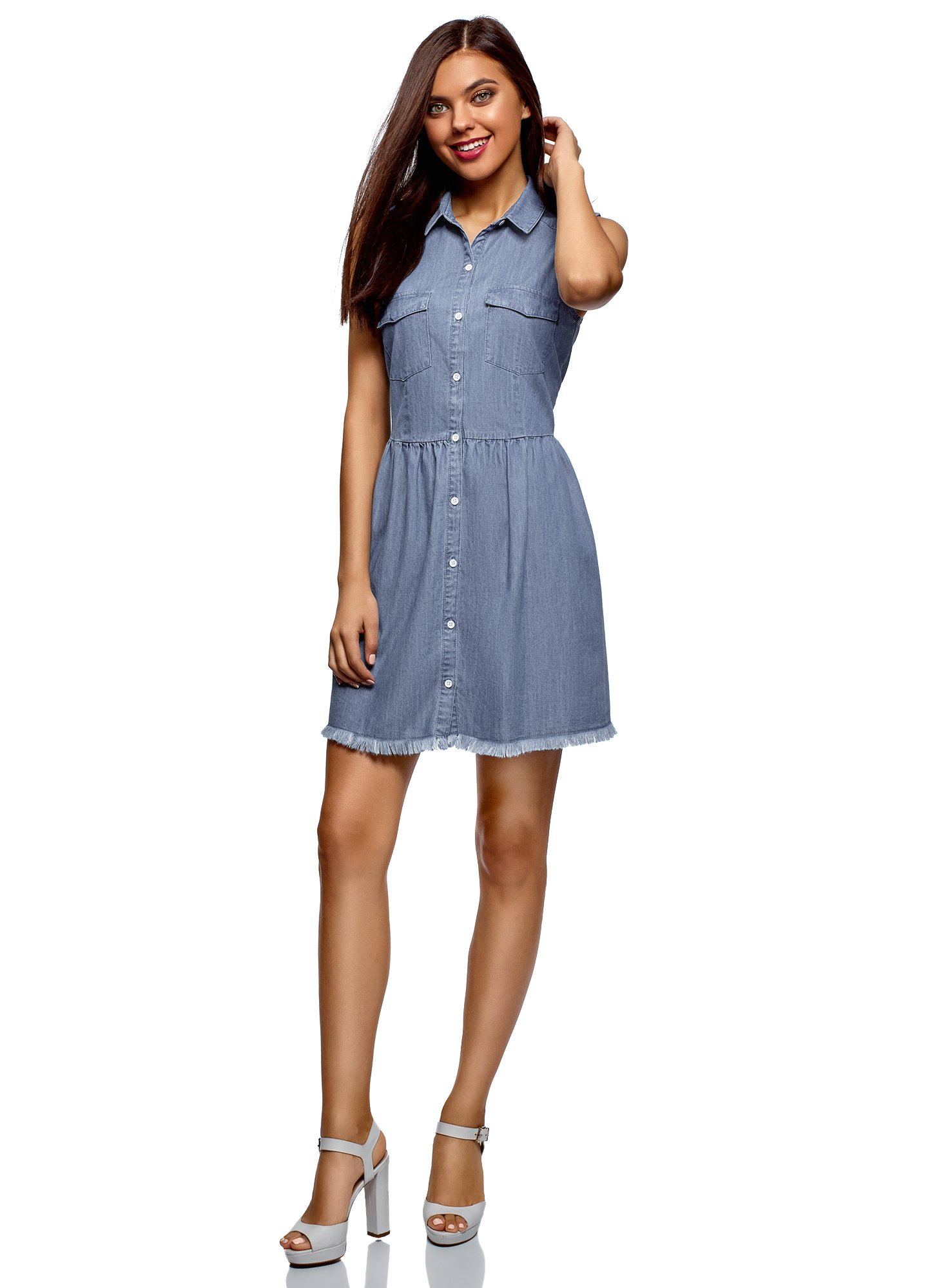 oodji Ultra Women's Button-Up Denim Dress, Blue, 8