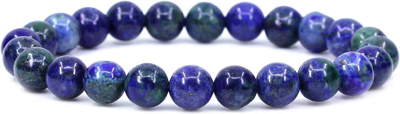 Lapis Chrysocolla Gemstone 8mm Round Beads Stretch Bracelet 7 Unisex
