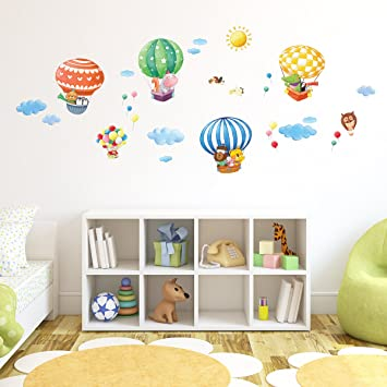 Decowall DA 1406B Animal Hot Air Balloons Kids Wall Decals Wall Stickers  Peel And Stick