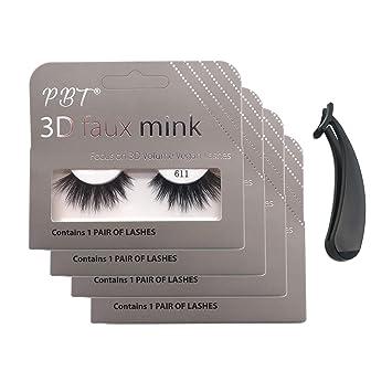 a48084c6504 Amazon.com : PBTLash Korean silk 3D faux mink eyelashes-611 (4 pack) :  Beauty