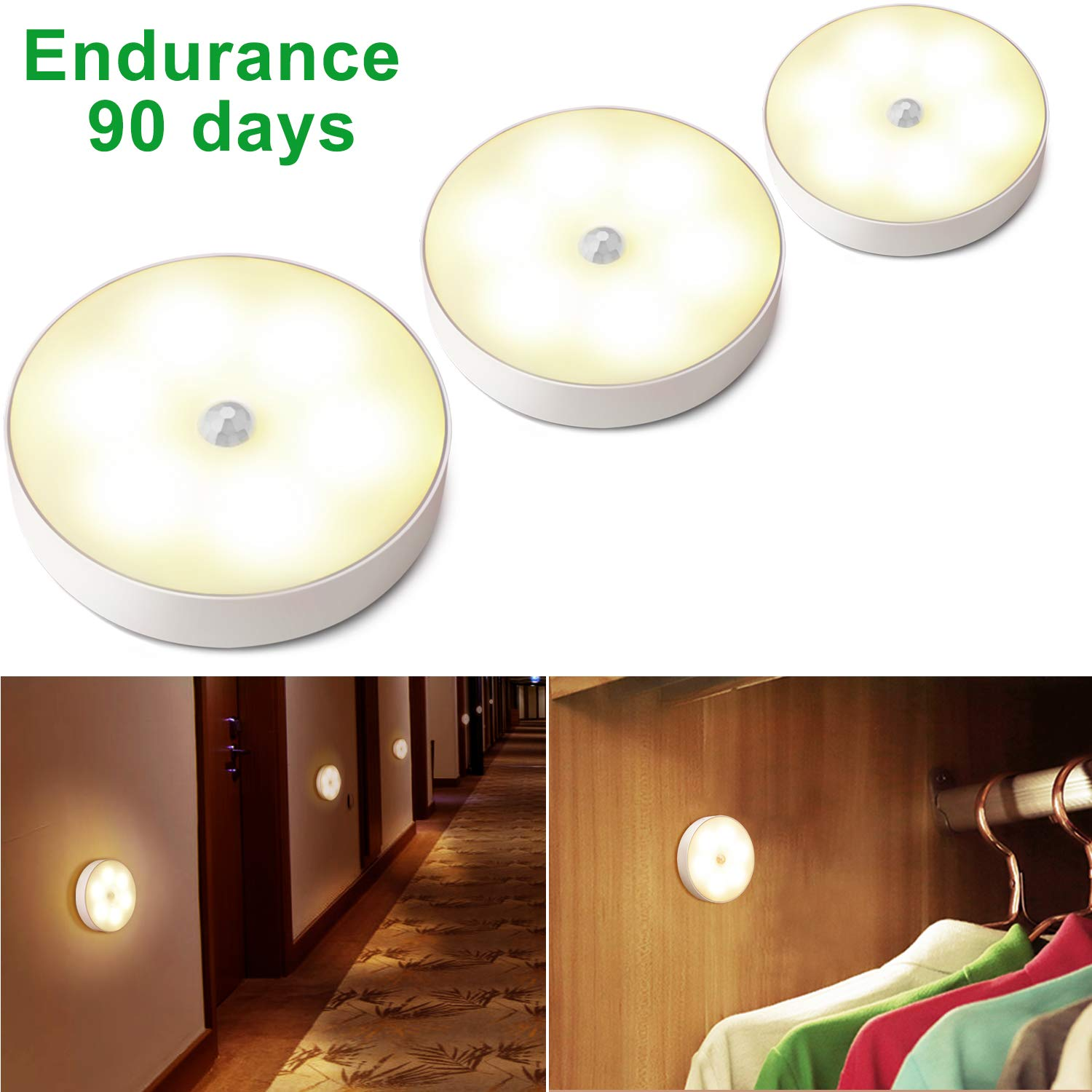 Motion Sensor Light Battery Operated LED Puck Lights Rechargeable Closet Light Cordless Wall Light Under Cabinet Lighting Stairs Lights, Hallway, Bathroom, Kitchen, Cabinet-3pack Latest Model