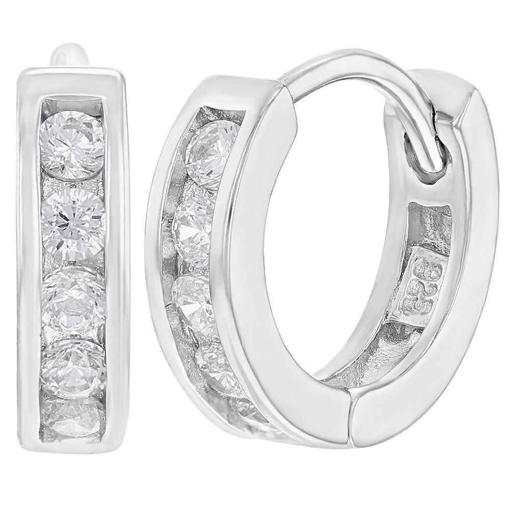 925 Sterling Silver Clear CZ Small Hoop Huggie Teens Girls Earrings 0.47