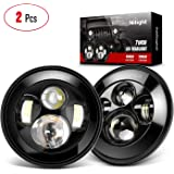 Nilight 2PCS 7 Inch Round Cree LED Headlight High Low Beam for Wrangler JK TJ CJ 1997-2017 Rubicon Sahara Hummber H1 H2 Motor