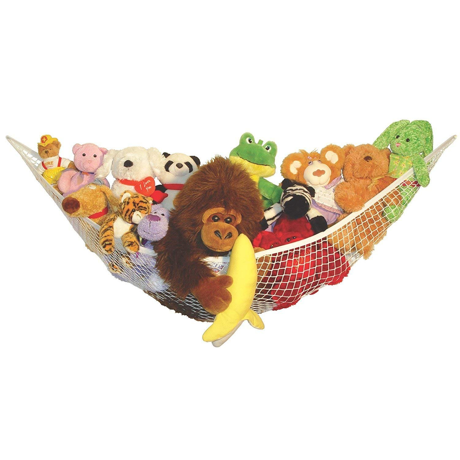 DD GOODS Toy Hammock White Plush Toy Storage Room Animals And Toy Organizer Storage Net Is Durable, Easy To Install