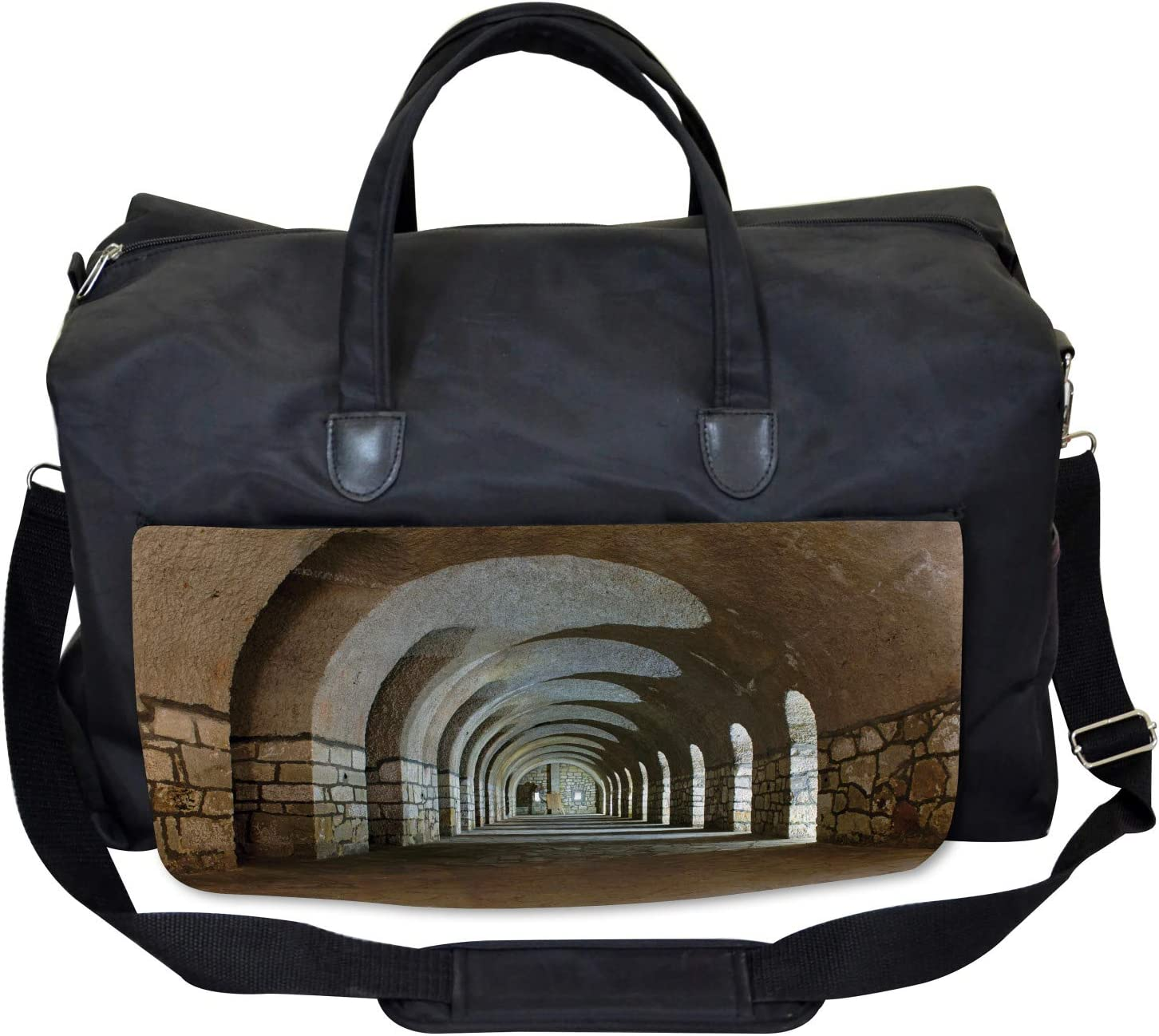 Ambesonne Historic Gym Bag Corridor in Fortress Large Weekender Carry-on