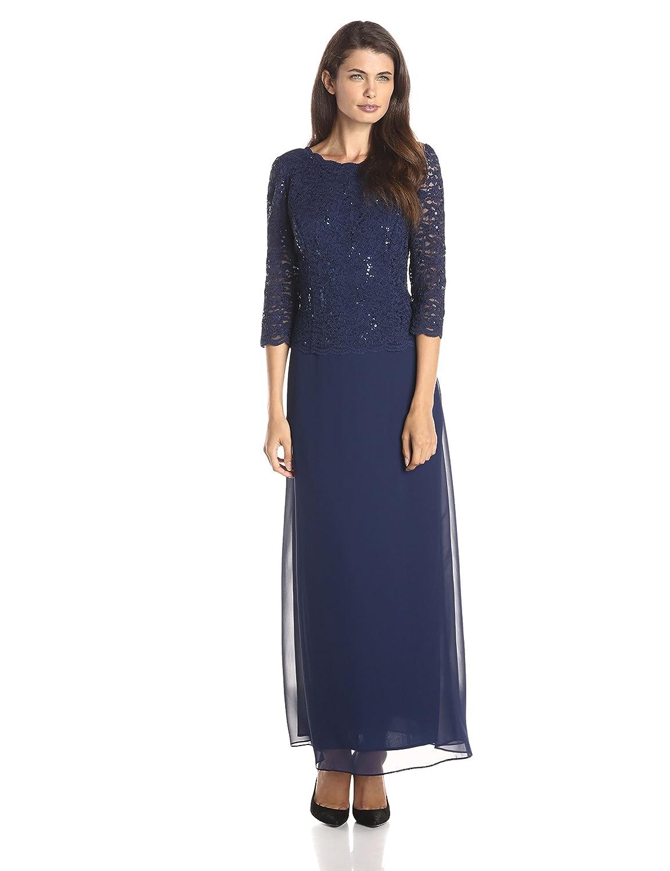 Alex Evenings Women's Long Mock Sequin Lace Bodice and Illusion Dress Alex Evenings Womens Dresses 112318