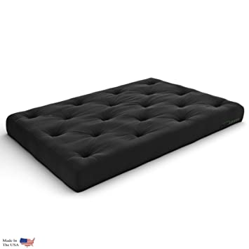 Extra Thick Premium 10 Inch Twin XL Futon Mattress, Black Twill   Made In