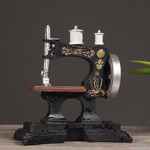 H.L LH Máquina de Coser Antigua Europea Adornos de Café Modelo de Resina Retro Tienda de Ropa Fotografía Decorativa Accesorios de la Foto,A: Amazon.es: Hogar